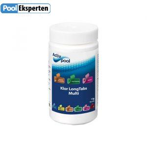Klor Long Tabs Multi 1 kg - langtidsvirkende klor tabletter til poolen