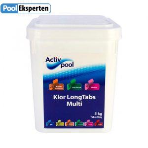 Klor Long Tabs Multi 200g tabletter - langtidsvirkende klor tabletter til poolen