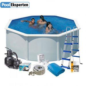 Rund stål pool til haven inklusiv alt teknik og tilbehør.