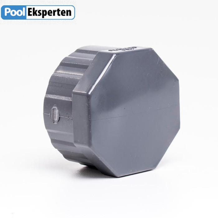 Gevindslutmuffe i kraftig PVC som er godkendt til klor og saltvands pool