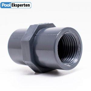 Muffer i kraftig PVC godkendt til pools med klor eller saltvand
