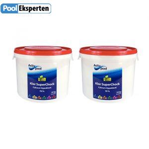 2 x 10 kg Klor SuperChock fra Activ Pool (70% koncentreret klor)