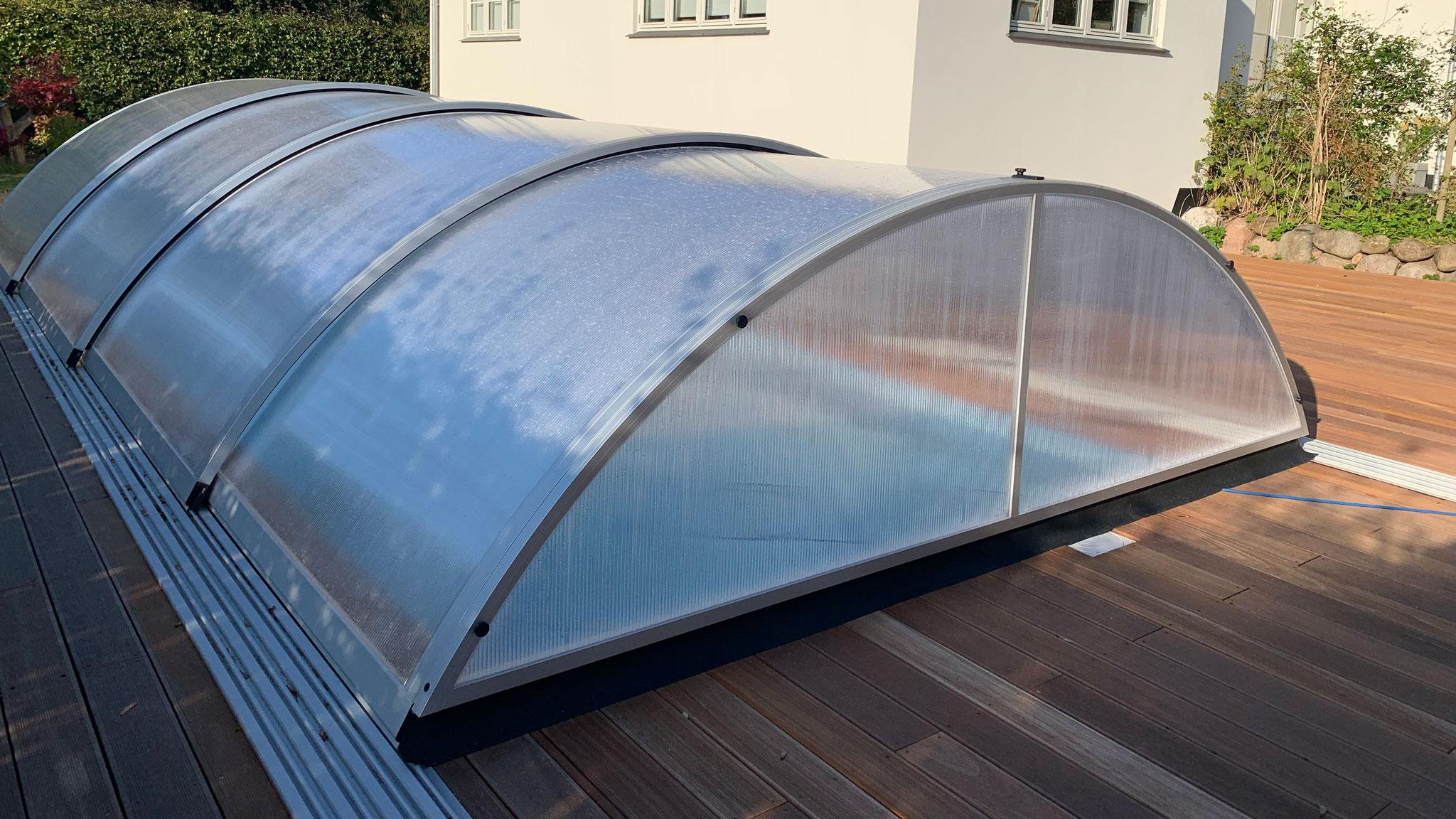 Overdækning til glasfiber pool