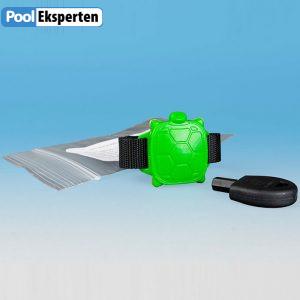 Skildpadde armbåndet er sjovt for børn, og øger sikkerheden omkring poolen. Alarmen lyder, hvis skildpadden bliver våd.